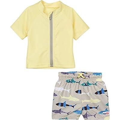 SwimZip Boy Short Sleeve Rash Guard Swimsuit   Shark Feast Yellow - 12-18 Month