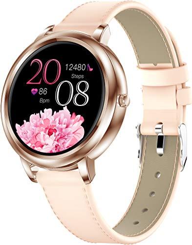 Smartwatch Damen Fitnessuhr für Frauen Elegant Weiß Rosa Leder Fitness Armbanduhr Voll Touchscreen Sportuhr Schrittzähler Herzfrequenz Schlafüberwachung Kalorien