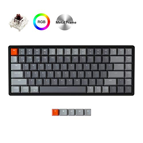 Keychron K2 Wireless Bluetooth/USB Wired Gaming Mechanical Keyboard, Compact 84 Keys Tenkeyless RGB LED Backlit Aluminum Frame for Mac Windows, Gateron Brown Switch, Version 2