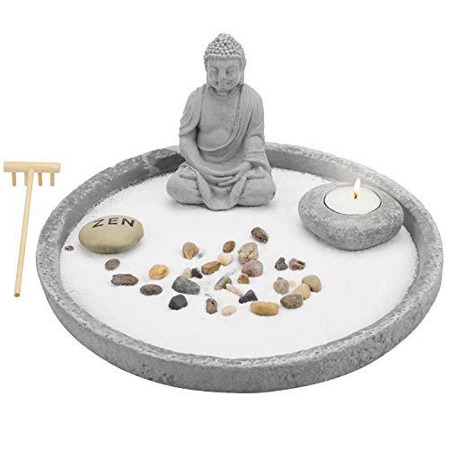 MyGift Buddha Statue Tabletop Gray Cement Zen Garden Kit with Sand, Rock, Rake & Candle Holder