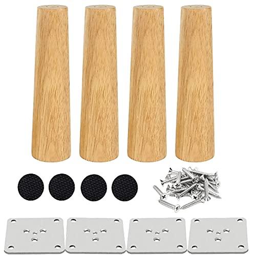 Drenky 4 piezas 15cm patas de madera para muebles patas de mesa de madera maciza cónica patas de sofá Derecho patas de repuesto para muebles con placa de montaje tornillos y protector antideslizante
