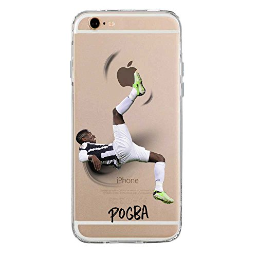 IP6 6S Cover TPU Gel Trasparente Morbida Custodia Protettiva, Soccer Collection, Paul Pogba, iPhone 6 6S