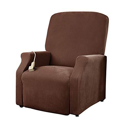 SureFit Home Décor SF38704 Pique Box Cushion Large Size Lift Recliner Chair Cover, Stretch Form Fit, Polyester Spandex, Machine Washable, One Piece, Chocolate Color
