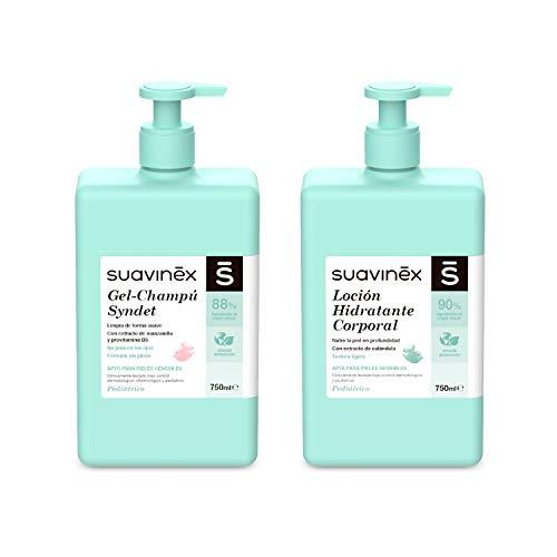 Suavinex, Pack Aseo Bebé Gel-Champú Syndet 750ml + Loción Hidratante 750ml. Con 88-90% de Ingredientes de Origen Natural. Apto para pieles sensibles. 2 productos