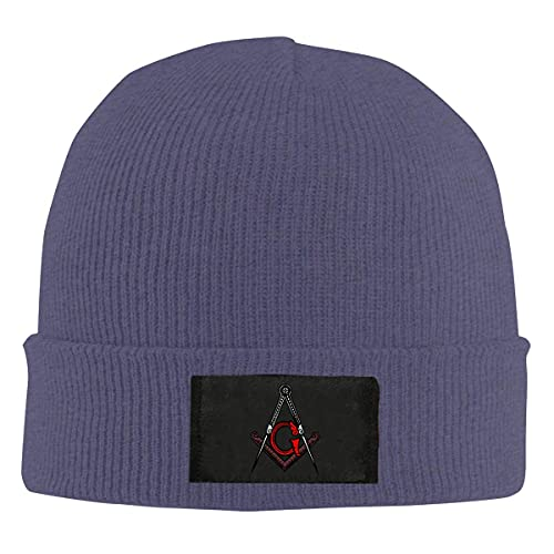 Drunce Freemason Square and Compass Red Knit Beanies Hats for Unisex Soft Watch Cap