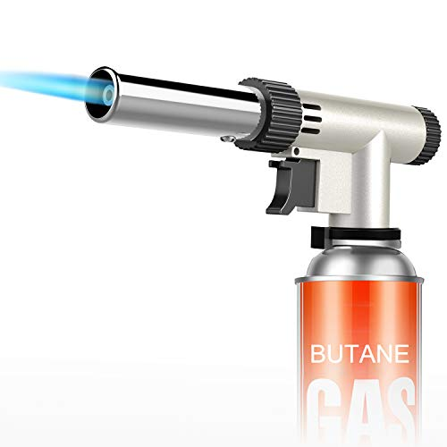 MIXI Butane Torch, Blow Torch Lighters Kitchen Torch Lighters Butane Cooking Torch with Adjustable Flame for BBQ, Baking, Jewelry (Butane Not Included)