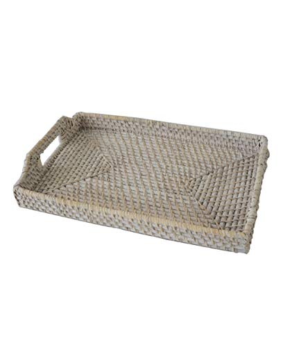 Medium 12'x17' Rectangular Wicker Serving Trays and Platters with Handles | Handcrafted Breakfast, Food, Dish, Coffee, Bread Serving Baskets for Home and Restaurants (Whitewash)