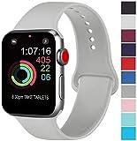 AK kompatibel mit für Apple Watch Armband 42mm 38mm 44mm 40mm, Weiche Silikon Sport Ersatz Armbänder kompatibel mit für iWatch Series 4, Series 3, Series 2, Series 1 (04 Grau, 42/44mm M/L)