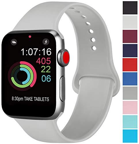 AK kompatibel mit für Apple Watch Armband 42mm 38mm 44mm 40mm, Weiche Silikon Sport Ersatz Armband kompatibel mit für iWatch Series 4, Series 3, Series 2, Series 1 S/M M/L (04 Grau, 38/40mm S/M)