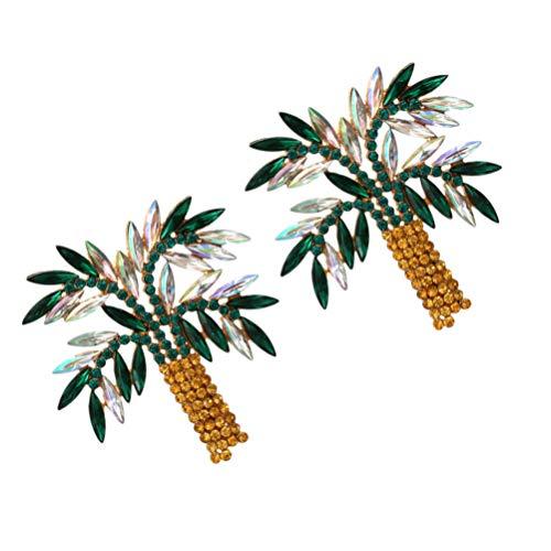 ABOOFAN 1 par de Pendientes de Árbol de Coco Diamantes de Imitación Decoraciones de Oreja Mujer Moda Accesorios DE OÍDO
