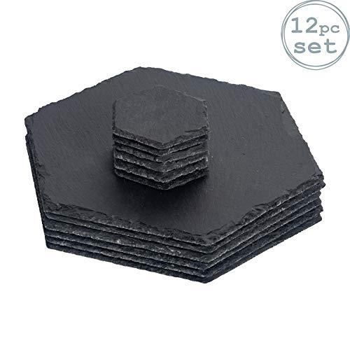 Nicola Spring 6 Sets de Table et 6 sous-Verres - Naturel/Hexagonal
