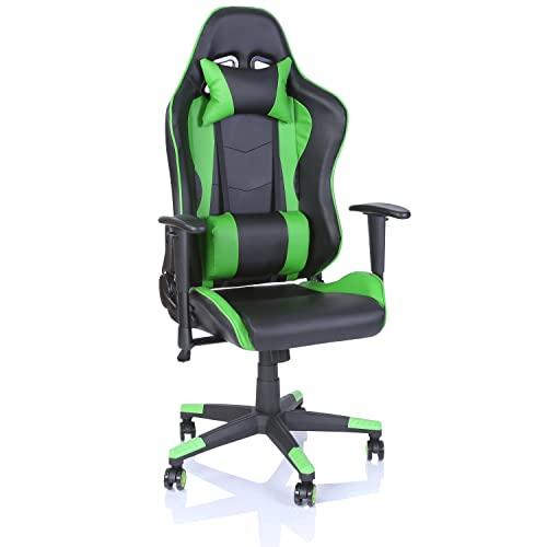 TRESKO Racing Drehstuhl Bürostuhl Sportsitz Chefsessel Gaming Stuhl, Wippmechanik, stufenlos verstellbare Rückenlehne (Hellgrün)