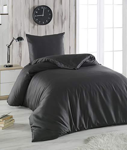 Melunda 2 TLG. Mako Satin Bettwäsche Set | Bettdeckenbezug 155x220 cm mit Kopfkissenbezug 80x80 cm | Anthrazit | 2 teilig Bettgarnitur | Baumwolle Bettbezug mit Reißverschluss