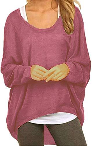 Meyison Damen Lose Asymmetrisch Sweatshirt Pullover Bluse Oberteile Oversized Tops T-Shirt Lila Rot XXL