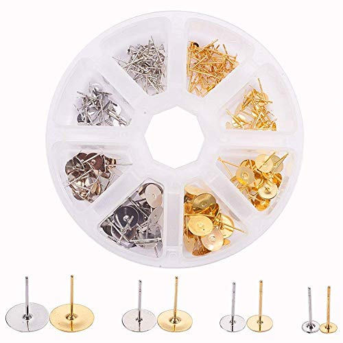 PandaHall Elite 200 Pcs Brass Earrings Posts Stud Blank Earring Pin Backs Flat Pad Earring Finding 4mm 6m 8mm 10mm for Jewelry Making Silver and Golden