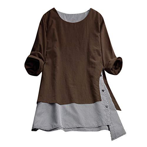 Bluse Damen Elegant Splice Langarm Shirt Gitter lose Oberteile Freizeit Pullover Mode Tunika 2019 (Braun,XXL)