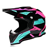 VOMI Casco Motocross Mujeres Rosa & Negro, Casco Descenso Adulto Casco MTB Integral Enduro Casco Moto Cross Off-Road Racing Motocicleta Quad Scooter, Forro Extraíble (M)