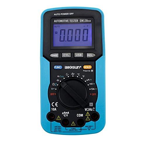 KAIBINY Multímetro USB Coche multímetro Digital dedicado de permanencia ángulo/número de revoluciones/tensión/Corriente, EM130 Ciclo de Resistencia/Capacidad/frecuencia/Deber