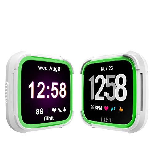 Landhoo Fitbit Versa Screen Protector Versa Lite Case, Shock Proof Bumper Cover Scratch Resistant Protective Rugged Case Replacement for Fitbit Versa & Versa Lite Smart Watch(White/Green)