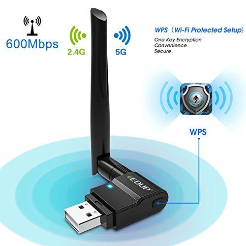 EDUP Adaptador USB WiFi Adaptador de red inalámbrica de doble banda 802.11 AC 2.4G / 5G USB Wi-Fi Dongle con antena extensora Compatible con Windows XP / Vista /7/8.1/10, Mac OS X 10.7-10.15