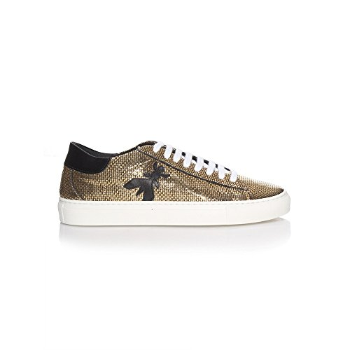 Patrizia Pepe Damen Sneaker Gold Snake, Größe 38