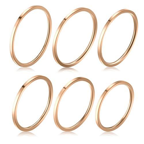 PiercingJ 6 Pcs Edelstahl Midi Ringe Set 1mm Dünn Knuckle Stacking Ring für Damen Frauen, Silber/Rosegold/Gold/Schwarz (Rosegold Set, 6 Stücke)