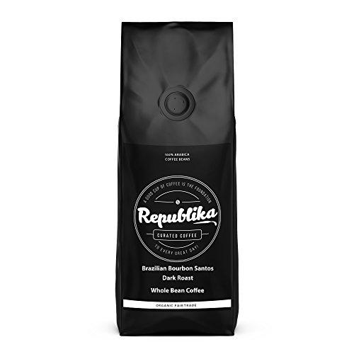 Republika Coffee Fairtrade Low-Acid Organic Coffee (Brazilian Bourbon Santos Dark Whole Bean Coffee, 2 lb)