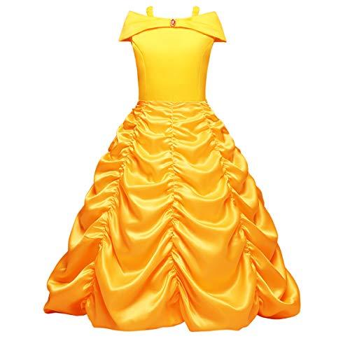OBEEII Bella Disfraz Belleza Carnaval Traje de Princesa Cuentos Infantiles para Halloween Navidad Fiesta Ceremonia Aniversario Cosplay Costume para Niñas Chicas 3-8 Años