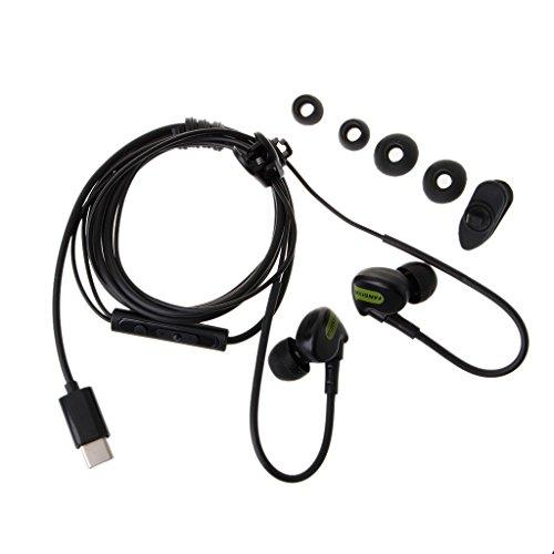 Jingmeizi - Auriculares intraurales tipo C con gancho para el oído con micrófono para Huawei P9 Xiaomi Mi5/6