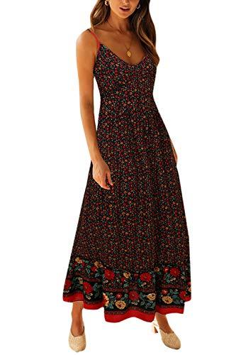 Vestido Maxi Floral para Mujer Vestidos De Playa Bohemios con Tirantes Finos De Verano Negro XL