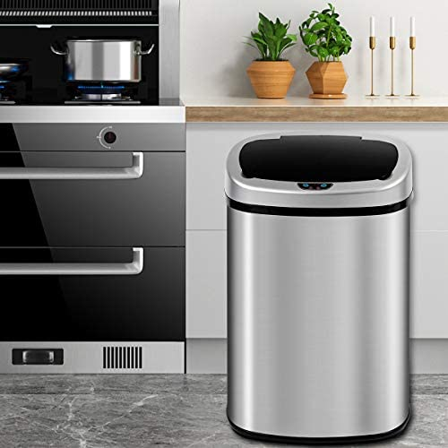 13 Gallon Kitchen Trash Can Garbage Can Waste Bin with Lid Automatic Touchless Stainless Steel product image