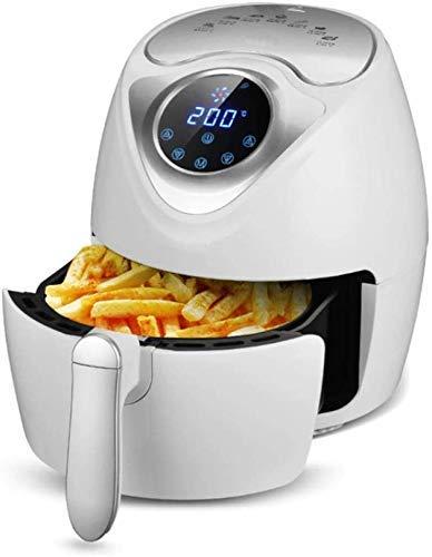Air Fryer 2.6L 1300W Led écran tactile numérique de température réglable minuterie amovible antiadhésives Basket-Noir, Blanc 8bayfa (Color : White)