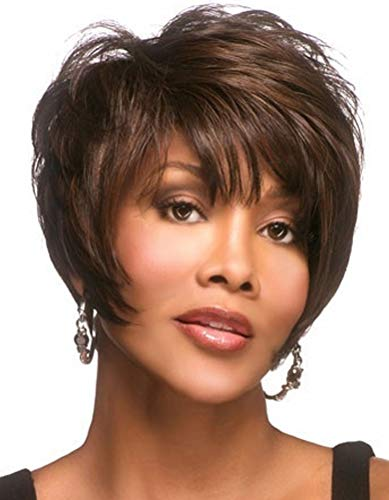 Royalfirst Women's Wig Short Hair with Bangs- Brown Synthetic Hair Wigs Natural Fashion Party Wigs + Wig Cap