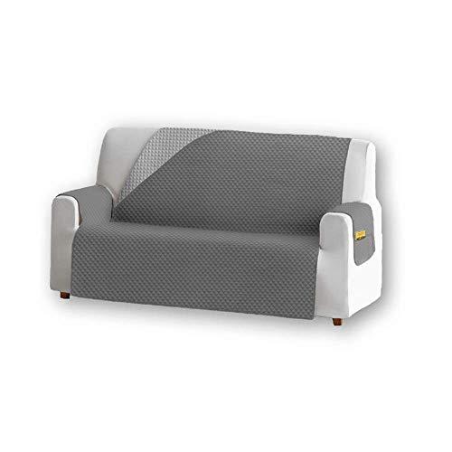 Unishop Funda de Sofa Protector de Sofá Cubre Sofá Bicolor Protector para Sofás Acolchado Reversible para Mascotas Muebles Polvo (Gris, 3 Plazas)