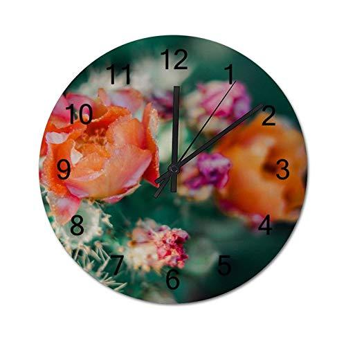 happygoluck1y Reloj de pared moderno de madera con diseño de flores rosas y naranjas en primer plano, para sala de estar, dormitorio, silencioso, rústico, de 30,48 cm para paredes