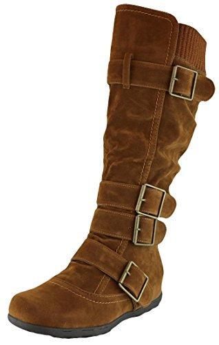 Cambridge Select Women's Buckle Sweater Knit Flat Knee-High Boot