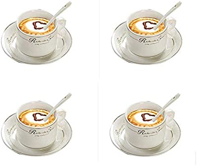 コーヒーカップセット、クリエイティブシンプルファッションアフタヌーンティーカップセラミックカップとソーサー、4個セット、150ML