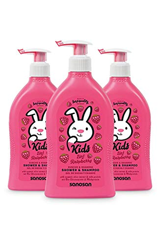 sanosan 2in1 Dusche & Shampoo Himbeere für Kinder - Duschgel & Haarshampoo mit Bio Olivenextrakt & Milchprotein im 3er Pack (3x 400 ml) - Haarpflege, Hautpflege, Shower Gel, Haar Shampoo