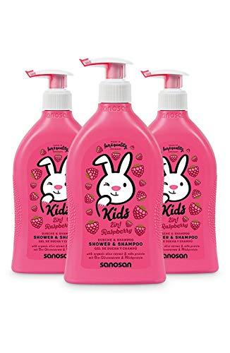 sanosan 2in1 Dusche & Shampoo Himbeere für Kinder - Duschgel & Haarshampoo mit Bio Olivenextrakt & Milchprotein im 3er Pack (3x 400 ml)