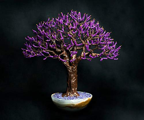 Beaded wire tree, gemstone bonsai with faceted purple agates beads