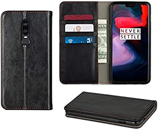 Executive OnePlus 6 Wallet case Black PU Leather, with Stand Function. This One Plus 6 case is ideally Designed to Hold Notes and up to 3 Cards, with Magnetic Closure. NOT for iPhone (Black)