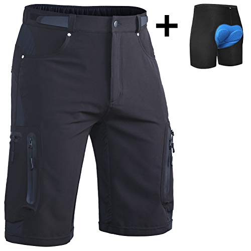 "Ally Mens MTB Mountain Bike Short Bicycle Cycling Biking Riding Shorts Cycle Wear Relaxed Loose-fit (Black, XL(Waist:32.5""-34.5"", Hip:39""-41""))"