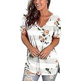 ZFQQ Camiseta de Manga Corta Estampada con Cuello en V para Mujer de Primavera y Verano y Dobladillo con Aberturas en la Parte Superior