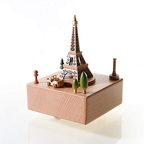 Chonor Escenarios Innovadores Caja de Música de Madera, Primo Creativo manivela de Madera artesanías Caja de música Mejor Regalo y Decoraciones Idea para Cumpleaños, Navidad - Torre de París