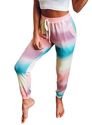 Losrly - Pantaloni da donna alla moda, con stampa, con tasche con coulisse, vita alta, per allenamento, corsa, palestra Multicolore L