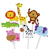 Yeahibaby 35pcs feliz cumpleaños pastel Topper tema animal decoraciones de la torta fuentes del...