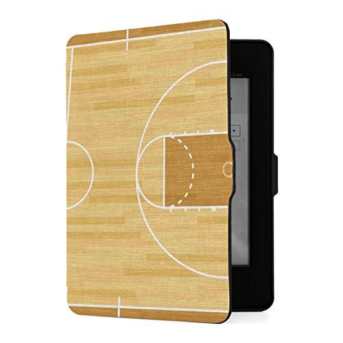 Funda para Kindle Paperwhite 1/2/3 Generación Fundas para Kindle Paperwhite E-Reader Realista Vector Madera Dura con Textura Cancha de Baloncesto Funda de Cuero PU con activación/suspensión automát