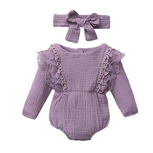 YALLET Newborn Baby Girl Clothes Solid Long Sleeve Baby Onesies Cotton Linen Romper Jumpsuits Fall Infant Girl Clothes with Headband Purple