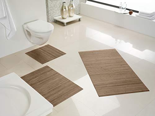 DE-COmmerce Hygienische, nachhaltige und rutschfeste Badematte aus Bambus im 3-er Set, Farbe: Taupe I Fussmatte Badteppich Bambusmatte Duschmatte Badezimmermatte Bamboo Badematte Badvorleger