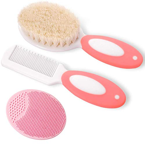 Baby Hair Brush and Comb Set for Newborns & Toddlers | Natural Soft Goat Bristles | Ideal for Cradle Cap | Perfect Baby Registry Gift (Pink)